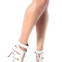 White Faux Snake Skin Cut Out Pointed Toe Lace Up Heels