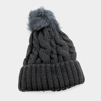Women's Black Cable Knit Faux Fur Pom Pom Beanie Hat