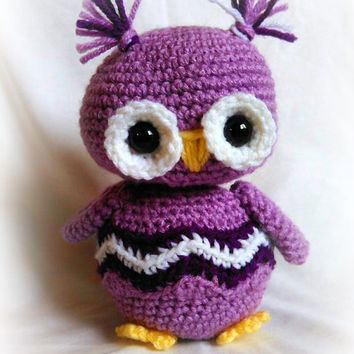 Chevron Scrappy Owl; CROCHET PATTERN; PDF