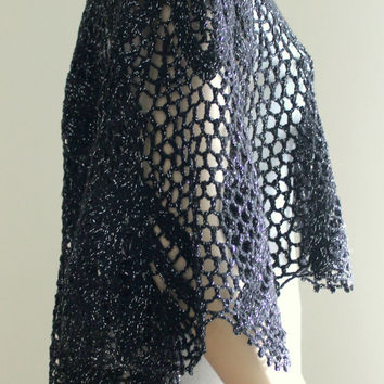 Hand Crocheted Sparkly Black Shawl / Women Accessories / Elegant Shawl / Ready to Shipping