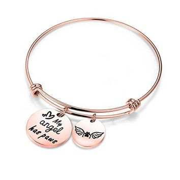 Zuo Bao Pet Memorial Jewelry My Angel Has Paws Bracelet Angel Paw Print Charm Bracelet for Dog Lovers