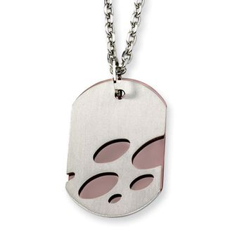 Men's Steel and Cognac Accent Two Layer Abstract Dog Tag Necklace