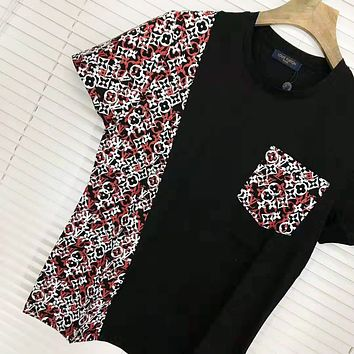 LV Louis Vuitton Fashion  New Monogram Print Women Men Leisure Top T-Shirt Black