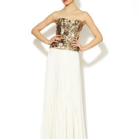 Marchesa Couture Jeweled Accordion Skirt Silk Strapless Gown