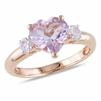 Heart-Shaped Rose de France Amethyst and Lab-Created White Sapphire Ring in Sterling Silver with Rose Rhodium Plate