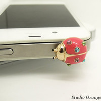 1PC Bling Crystal Cute Ladybug Earphone Charm Cap Anti Dust Plug for iPhone 5, iPhone 4, Samsung S3,Samsung S4