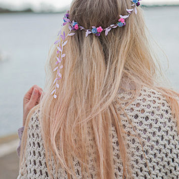 Flower Crown, Pink, Lilac and Blue Rose Flower Headband, Festival Crown, Bridal Floral Head Piece, Flower Girl Halo Wreath, Floral Garland