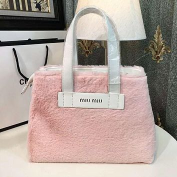 Miu Miu Trending Women Stylish Leather Cashmere Handbag Tote Shoulder Bag Pink