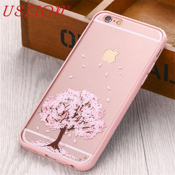 Phone Case For iphone4 4s 5 5S 5C 6 6S SE Hard Transparent Flowers Series Back Cover