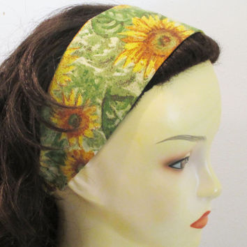 Sunflowers Wide Womens Headband - Reversible Fabric Headband for Teens - Wide Cotton Headband - Wrap Around Headband