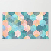 Child's Play 2 - hexagon pattern in soft blue, pink, peach & aqua Rug by Micklyn