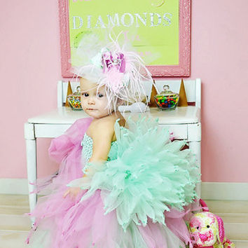 Elegant two tier tutu dress with bustle- birthday dress, pageant dress