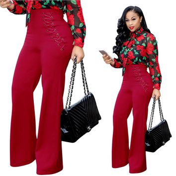 LaceUp High Waist Pants with Wide Legs
