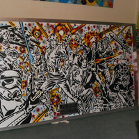 Star Wars stencil art painting,large,science fiction,film,spray paint,space,stormtrooper,comics,silver,hand cut,hand drawn,darth vader,home