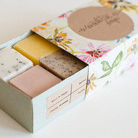 SAMPLE SET - Mint, Carrot, Lemongrass, Cherry Blossom, Coffee, Green Apple - Natural, Handmade, Vegan