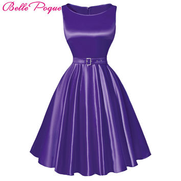 Belle Poque 2017 Pretty 50s 60s Vintage Dresses Summer style Plus Size Womens Clothing Swing Party Rockabilly Dress With Belt