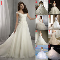 2015 Ball Gown A-Line Taffeta Wedding Dresses Bridal Gowns Stock 6 8 10 12 14 16