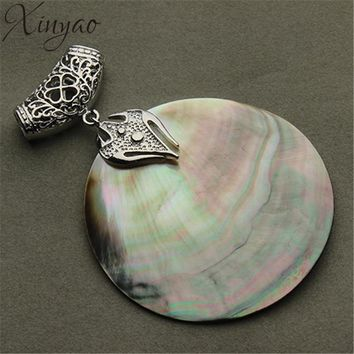 XINYAO Vintage Natural Mother of Pearl Shell Pendant Antique Silver Plated Abalone Shell Pendants Charms Jewelry Making F1151