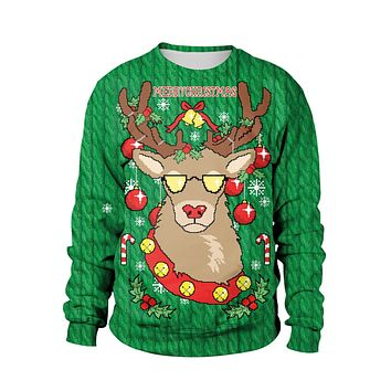 Reindeer Digital Print Women Christmas Party Sweatshirt
