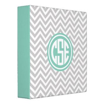Gray and Aqua Preppy Chevron Circle Monogram Vinyl Binder