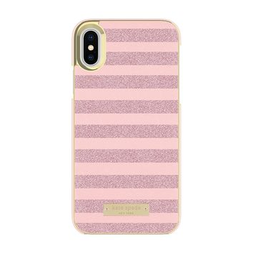 kate spade new york Wrap Case for iPhone X - Glitter Stripe Rose Quartz Saffiano/Rose Gold Glitter