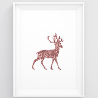 Copper art, Copper decor, Copper rose deer print, Deer wall decor, Bedroom wall decor,  Copper art print, Copper poster, Christmas 2016