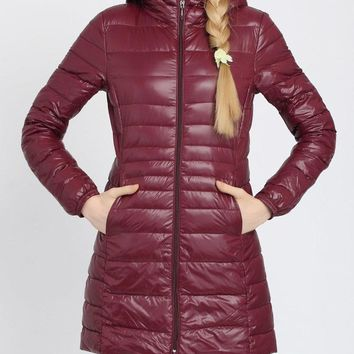 Pure Color Hooded Women Down Jackets