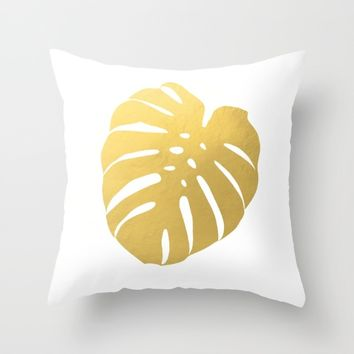 Gold Monstera II Throw Pillow by New Wave Studio