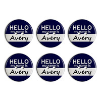 Avery Hello My Name Is Plastic Resin Button Set of 6