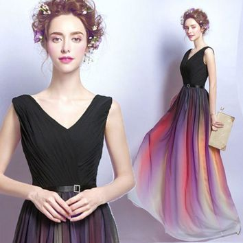 PEAPIH3 Gradient Chiffon Evening Dress Long Style Tube Top Party Moderator V Collar Dresser Dress Up