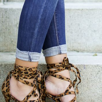 Can't Be Tamed Leopard Lace Up Heels