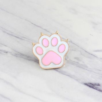 Cute Pink Dog Paw Cat Claw Brooch Love Pet Enamel Pin Jacket Shirt Backpack Personality Accessories Friends and Children's Gift