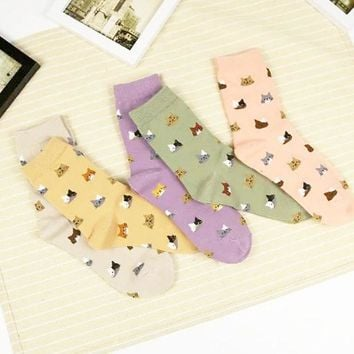 ESBONJ 2017 High Quality Colorful Tube Art Casual Cotton  Cartoon Cute Cat Face Thin Section Invisible Funny Socks Women Lady Girls