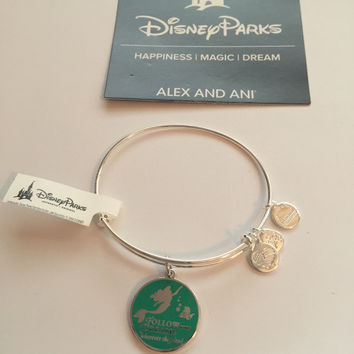 Disney Alex and Ani Parks Ariel Follow Your Dreams Bangle Bracelet Silver New W Tags