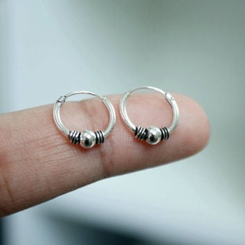 Sterling Silver Hoop Earrings, 12mm Bali Hoop Earrings, Tribal hoop earrings, Cartilage Hoop, Helix Hoop Earrings, Tiny hoop earrings, gift