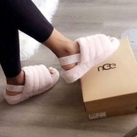 """""""UGG"""" Hight Quality Winter Fashionable Women Warm Fluff Yeah Slippers Shoes Light Pink I/A"""