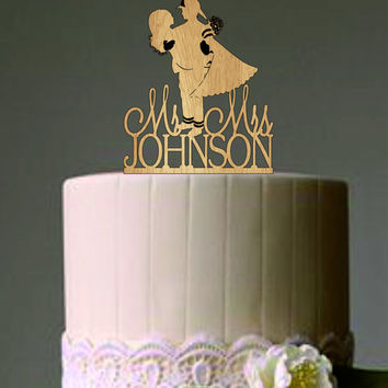 Rustic Personalized Wedding Cake Topper - Firefighter and Bride Silhouette with Mr & Mrs - Bride and Groom Cumtom Wedding Cake Topper