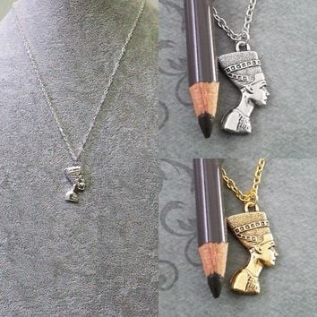 Gold/Silver Nefertiti Pendant Egyptian Queen Pharaoh Necklace Link Chain