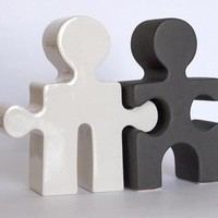 Salt and Pepper Shakers Puzzle People Black and by celestewelch