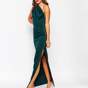 ASOS | ASOS One Shoulder Scuba Maxi Dress With Exposed Zip at ASOS