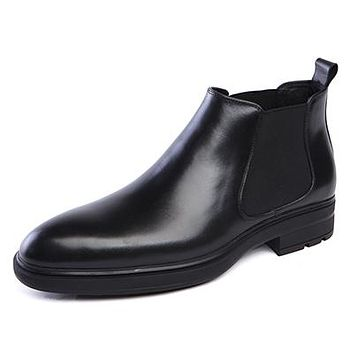 High Quality Fashion Elastic Band Pointed Toe Brand Ankle Boots Casual Genuine Leather Design Men Dress Wedding Shoes