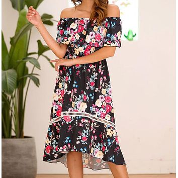 Summer Popular Women Sexy Short Sleeve Off Shoulder Floral Print Fishtail Dress Black