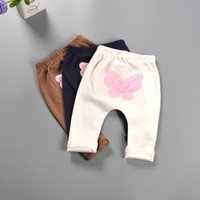 Cute Kids Baby Girl Baggy Pants Lace Butterfly Cotton Casual Cross-Pants Toddler Girl Leggings Clothing for 2017 Spring