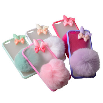 Cute Warm Rabbit Fur Case for iPhone 5s 6 6s Plus