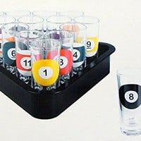16-Piece Billiards Themed Novelty Shot Glass Bar Set with Serving Tray