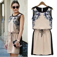 A 082804 s Quality chiffon sleeveless dress temperament