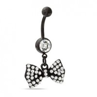 Belly Ring Bow Belly Button Ring Bow Piercing, 14 Guage with 1 Belly Retainer