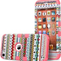 ULAK Hybrid 3 Layer Hard Pattern with Silicon Shockproof Case Cover for Apple iPod Touch 5 Generation (Green Tribal / Red)