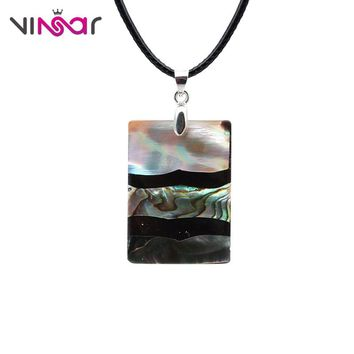 VINSAR New Zealand Rectangle Abalone Shell Necklace Sea Oyster Paua Shell Necklace Men Best Friend Necklace Of Bijouterie XLBK26
