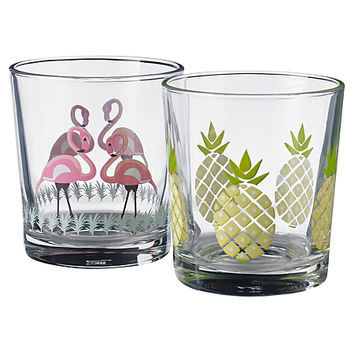 George Home Pack Of 4 Flamingo & Pineapple Juice Glasses | Glassware | ASDA direct